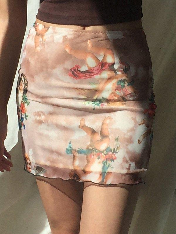 Cherub Print Mesh Mini Skirt - Brown L