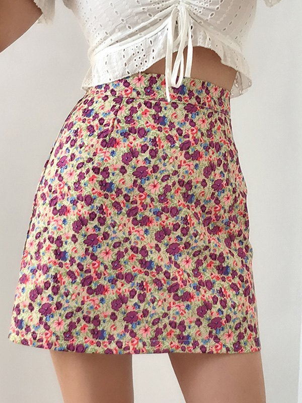Painted Floral A-Line Mini Skirt - Pink L