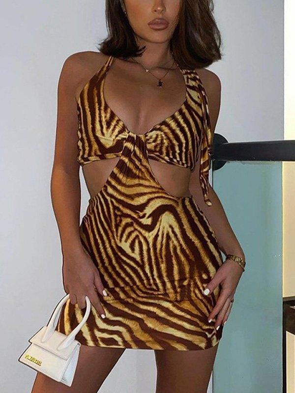 Cutout Halter Mini Dress - Yellow M
