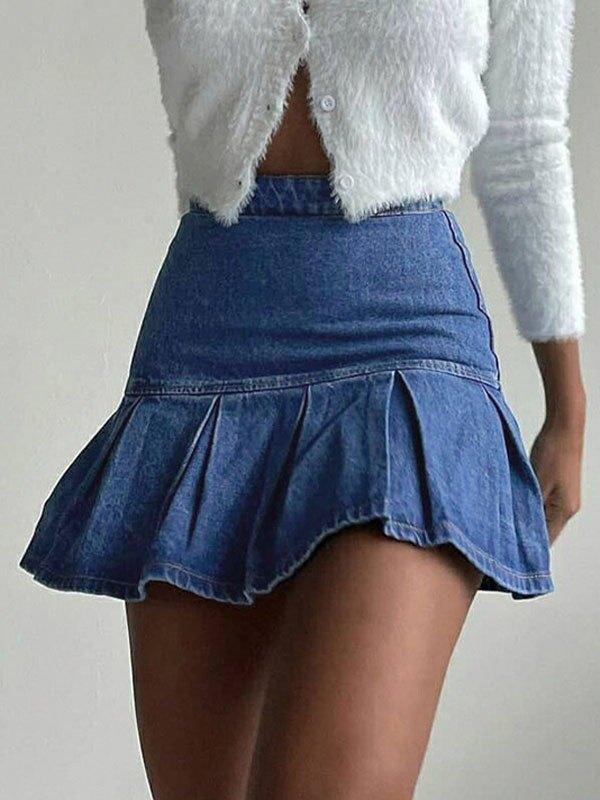 Denim Ruffle Mini Skirt - Blue L