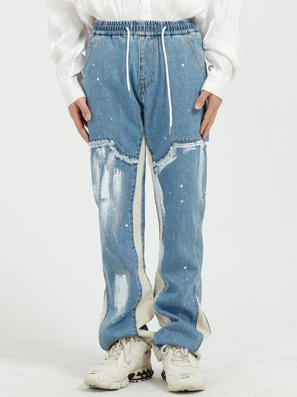 Men's Splatter Ink Distressed Jeans -