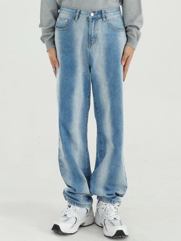 Men's Bleached Straight Leg Jeans -