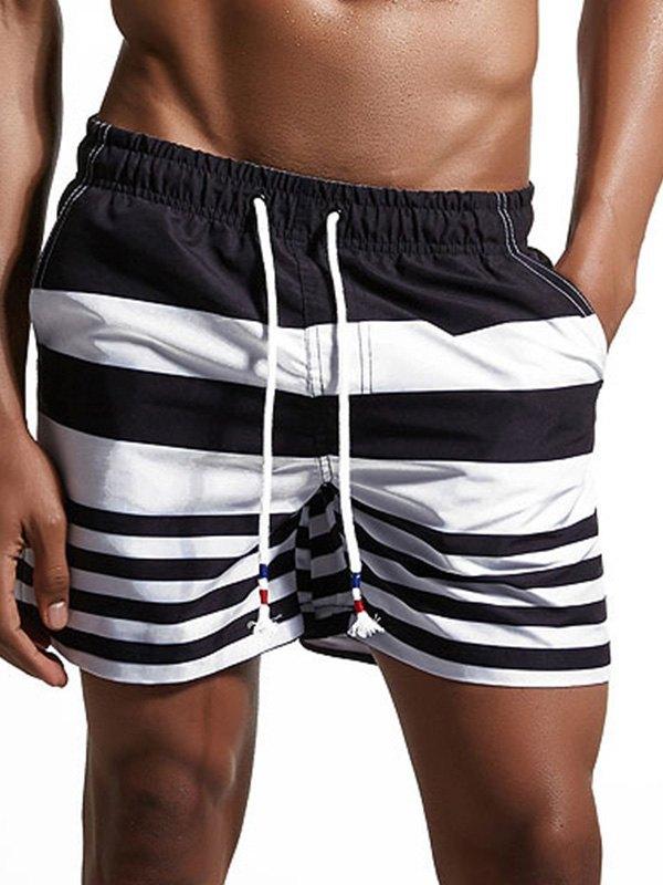 Men's Stretch Striped Swim Trunks -