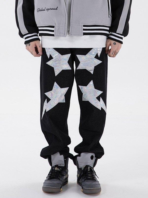 Pantalon décontracté brodé de sequins pour hommes - Blanc L