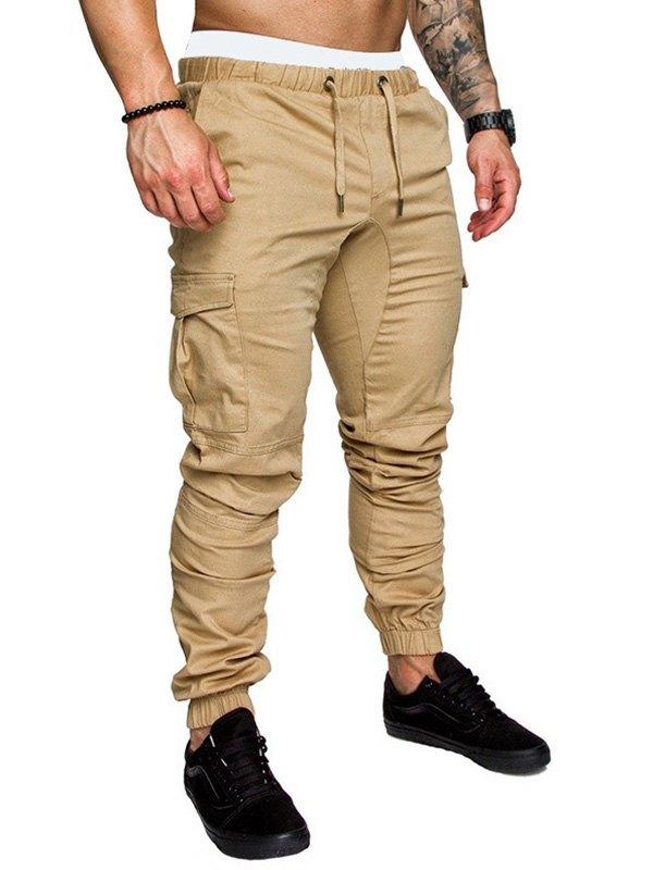 Men's Drawstring Cargo Pants - Khaki M