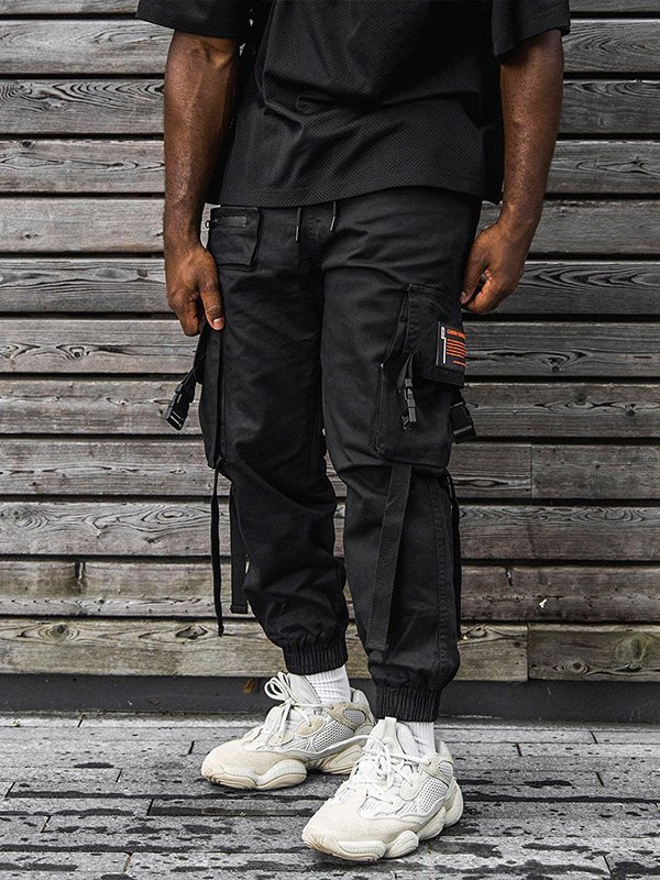 Men's Buckle Pocket Cargo Pants - Black L