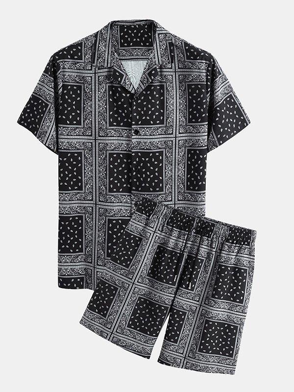 Men's Bandana Print Shirt Set - Black S