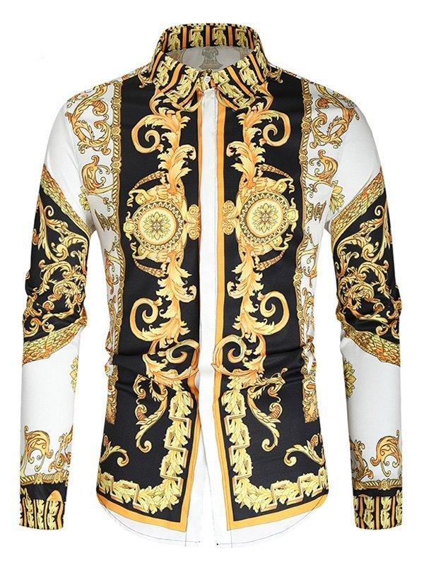 Men's British Style Baroque Print Shirt - White L
