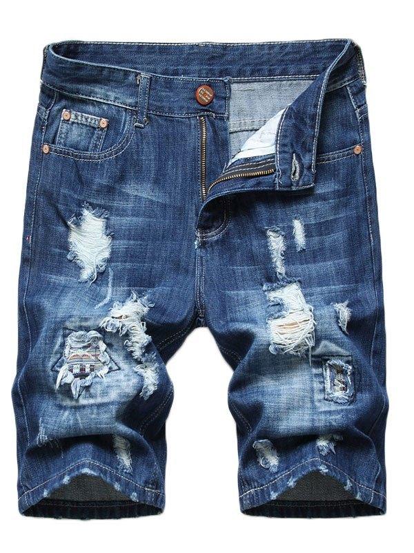 Men's Washed Distressed Denim Shorts - Blue 2XL