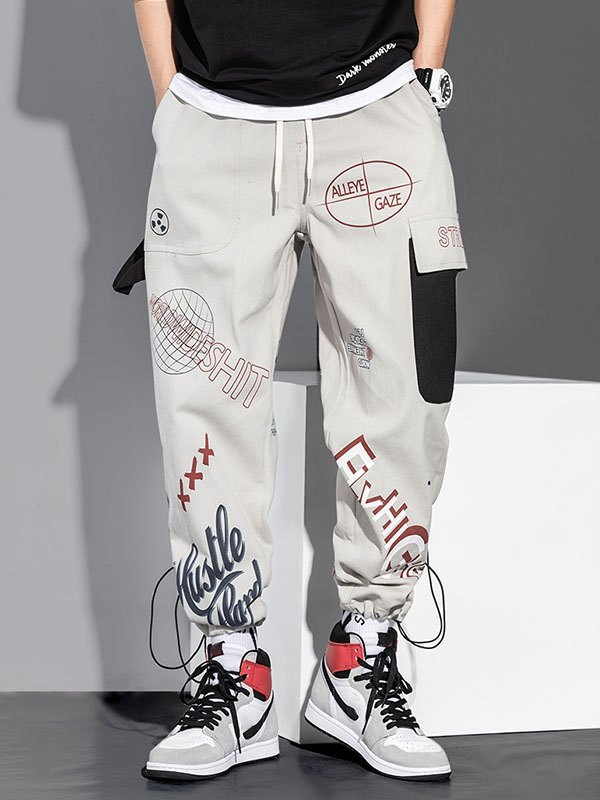Men's Graphic Print Drawstring Pants - Grey 2XL