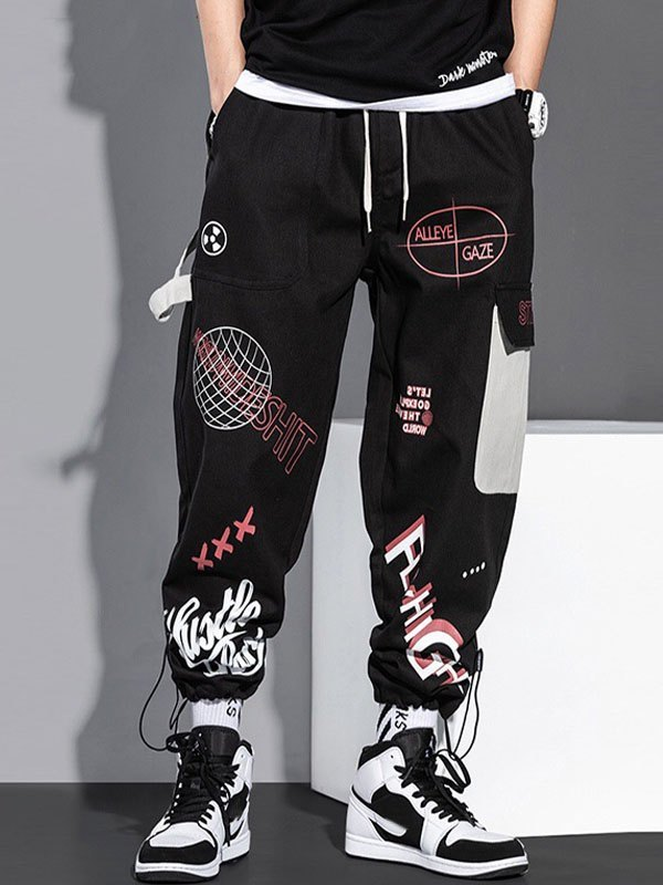 Men's Graphic Print Drawstring Pants - Black 3XL