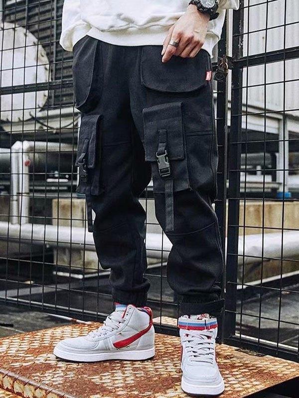 Men's Patchwork Cargo Pants - Black M