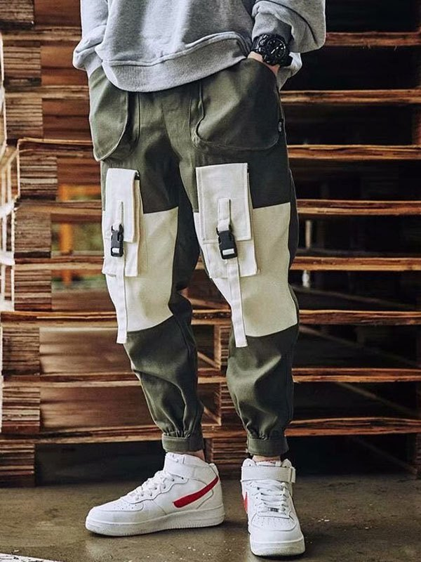 Men's Patchwork Cargo Pants - Chive 2XL