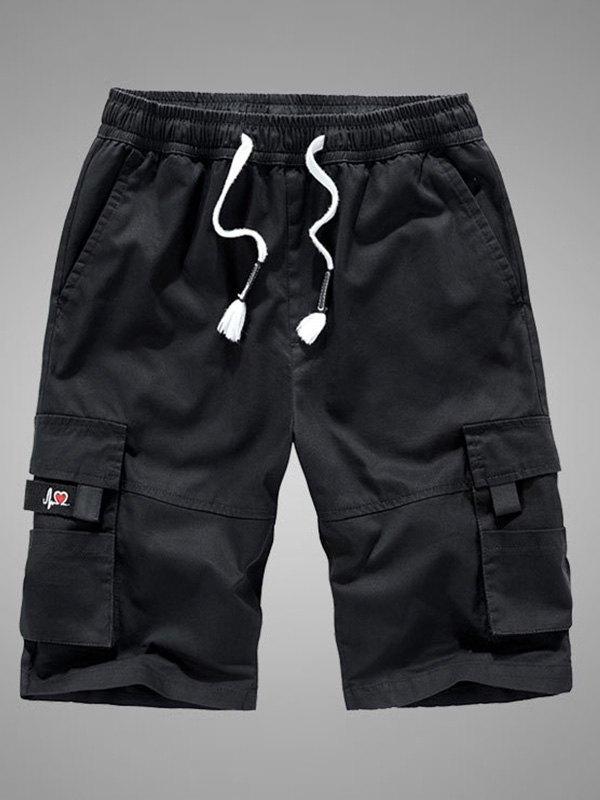Men's Cotton Knee Length Shorts - Black XL