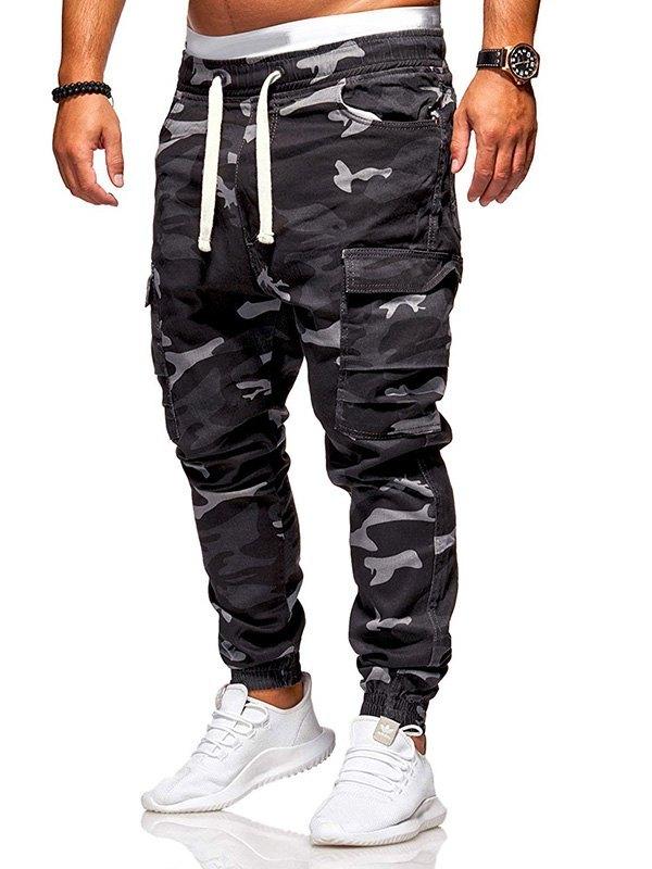 Men's Camo Drawstring Cargo Pants - Black L