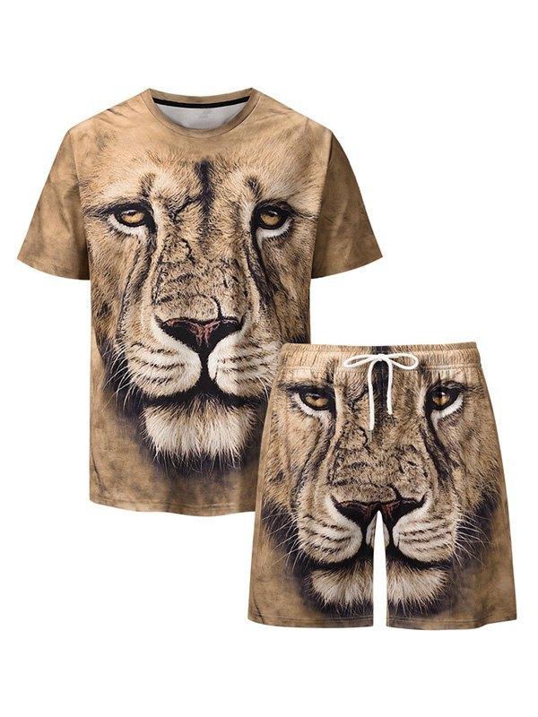 Men's 3D Lion Print Shorts Set - multicolorple Colors M