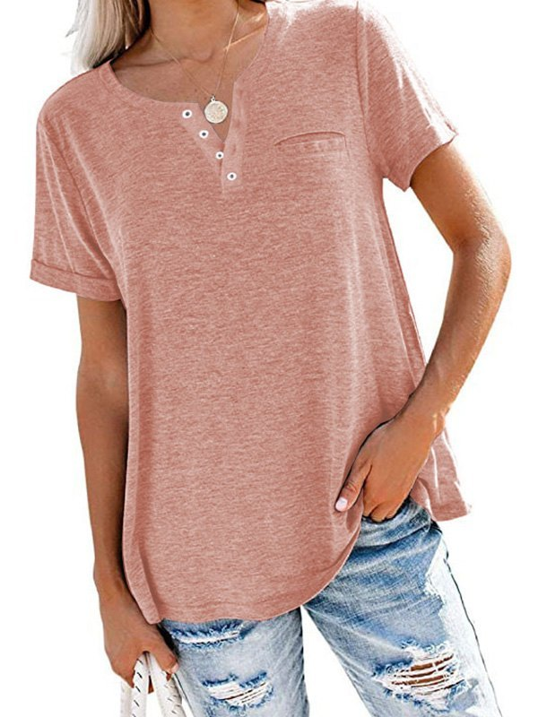 Button Up Short Sleeve Tee - Pink XL