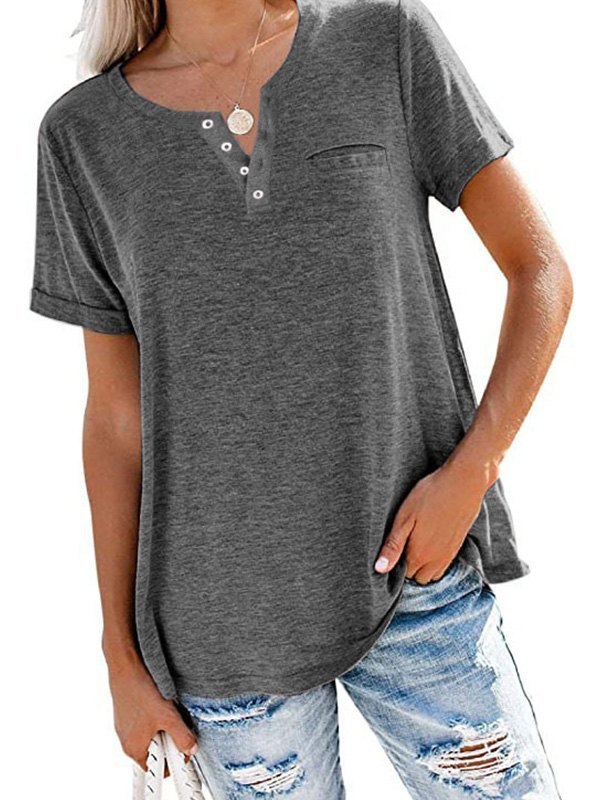 Button Up Short Sleeve Tee - Dark Gray L