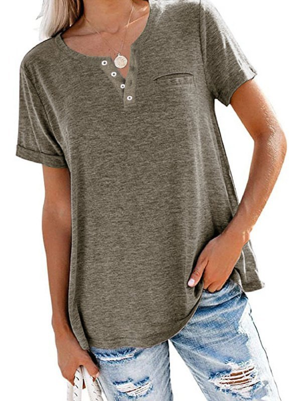 Button Up Short Sleeve Tee - Coffee M