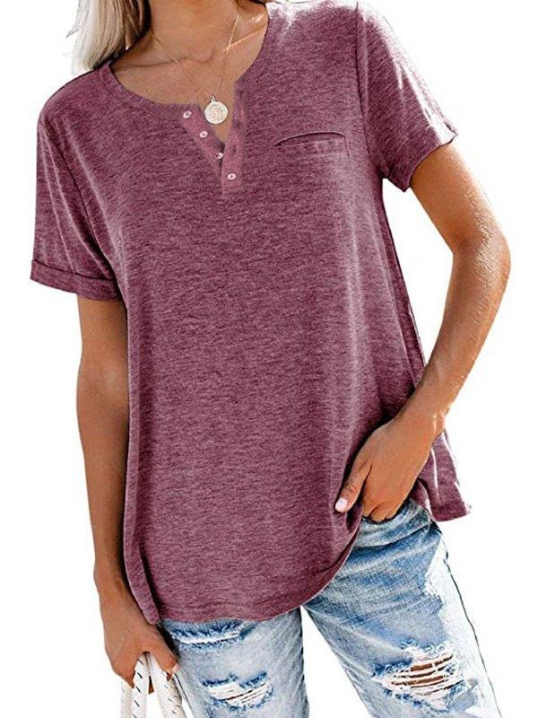 Button Up Short Sleeve Tee - Burgundy M