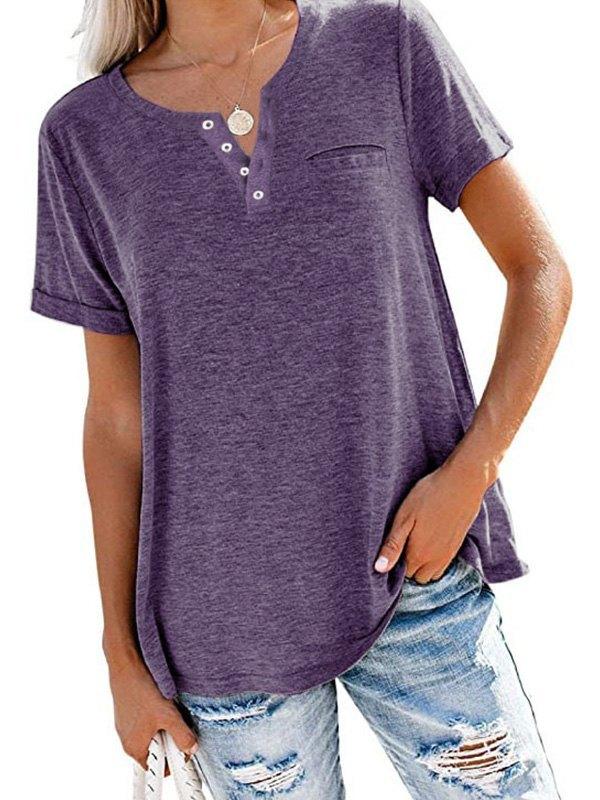 Button Up Short Sleeve Tee - Purple M