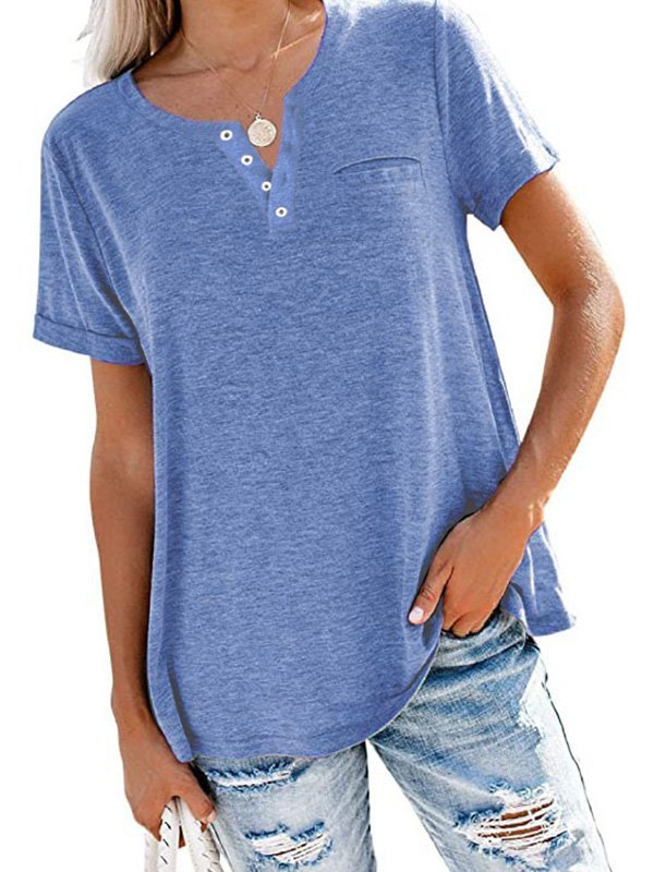 Button Up Short Sleeve Tee - Blue L