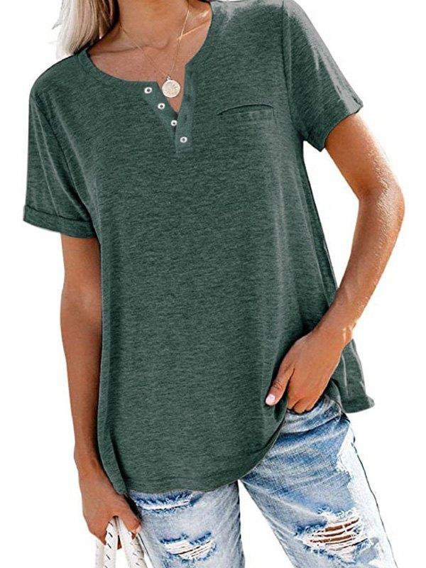 Button Up Short Sleeve Tee - Green 2XL
