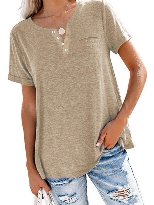 Button Up Short Sleeve Tee - Khaki S