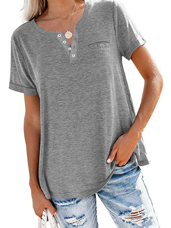 Button Up Short Sleeve Tee - Gray M