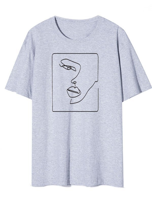 Abstract Face Graphic Tee - Gray 3XL