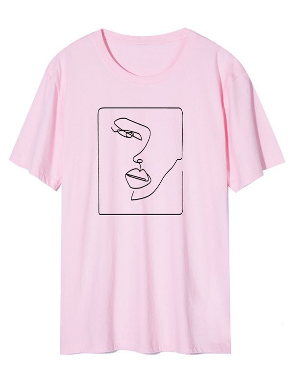 Abstract Face Graphic Tee - Pink L