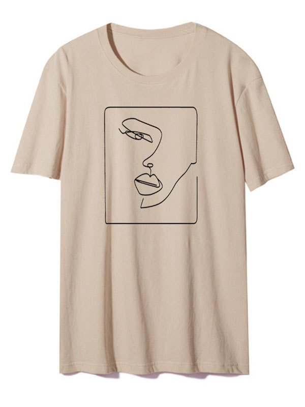 Abstract Face Graphic Tee - Khaki M