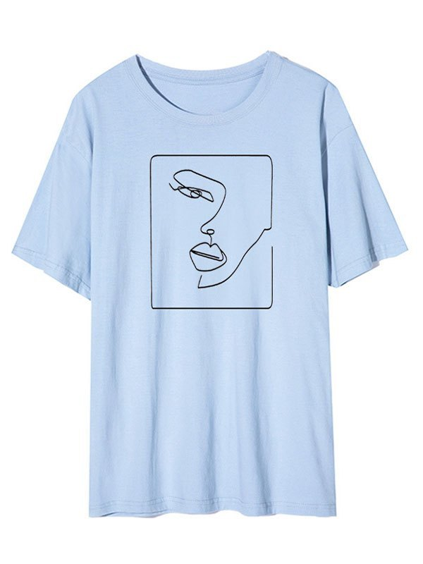 Abstract Face Graphic Tee - Blue S