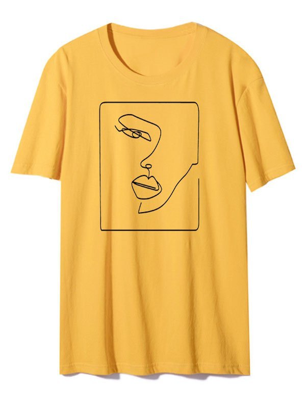 Abstract Face Graphic Tee - Yellow S