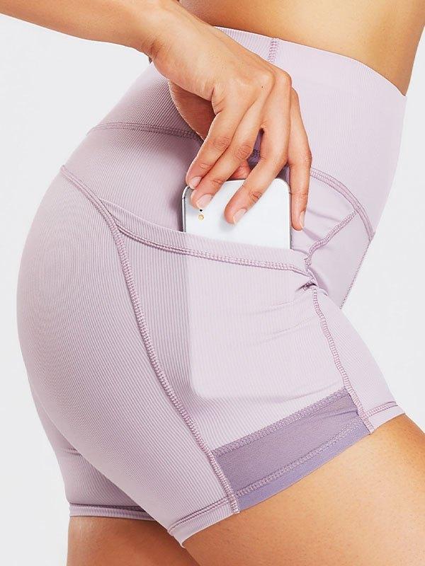 Push Up Ribbed Active Shorts - Lilac XL