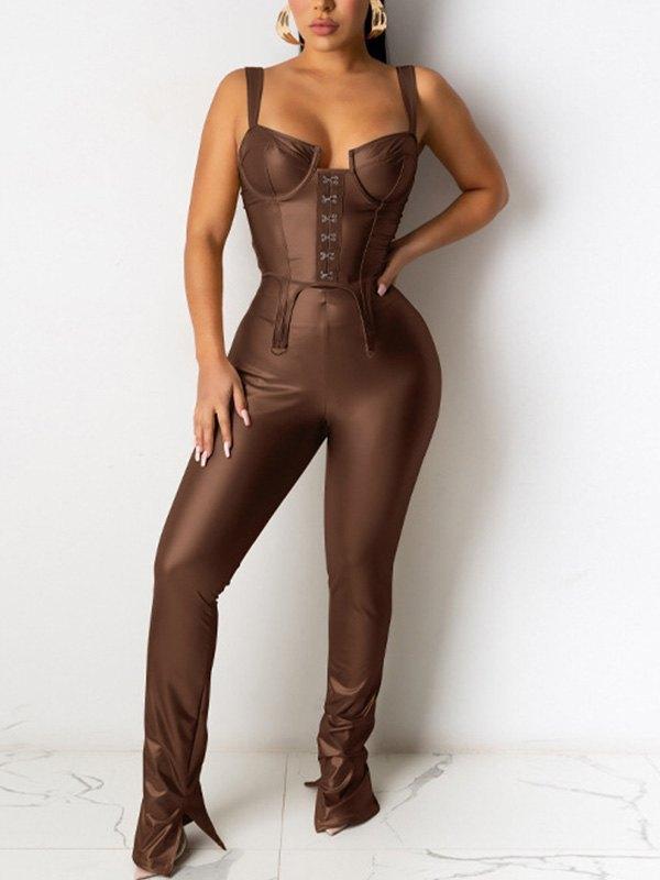 Pu Leather Split Pants Set - Brown L