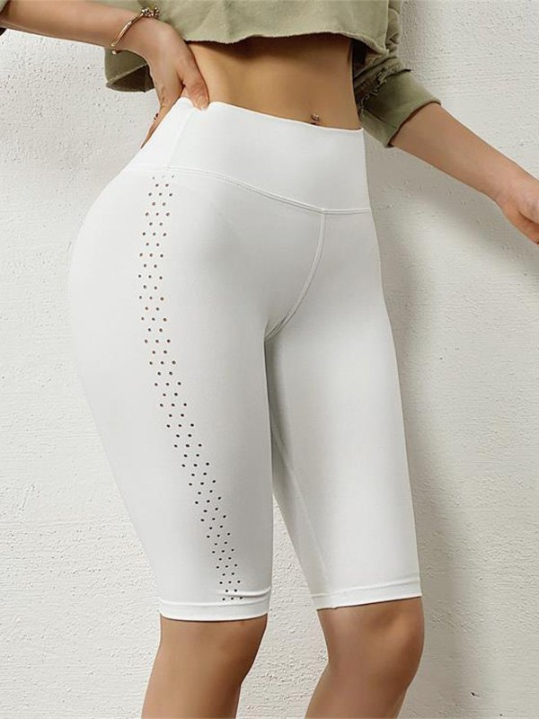 Knee Length Stretch Active Shorts - White M