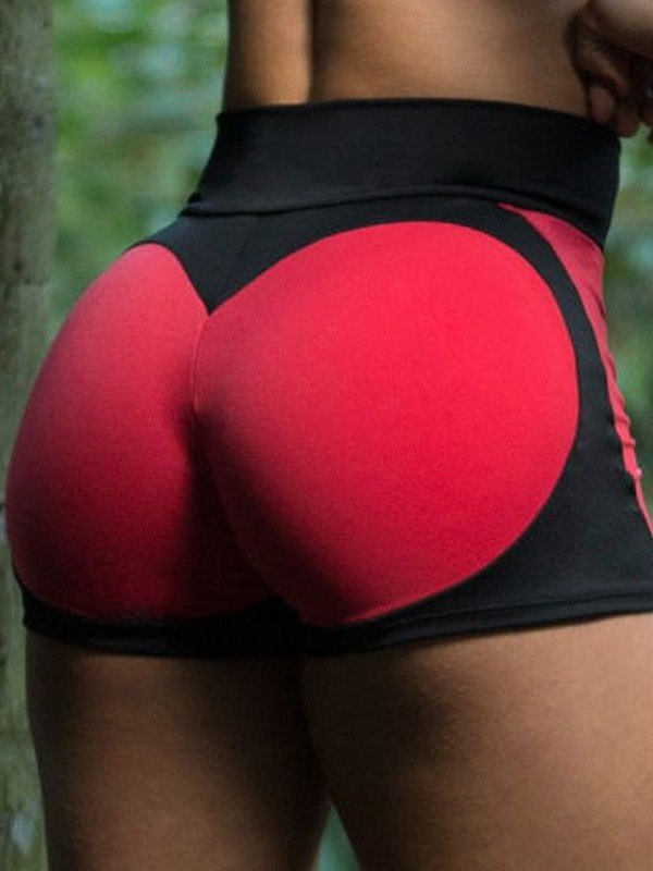 Push Up Contrast Active Shorts - Red S