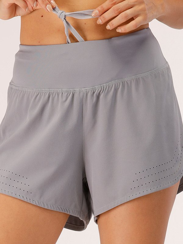 Stretch Lined Active Shorts - Gray XL