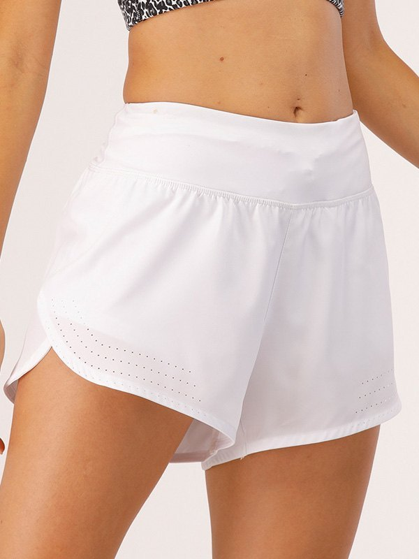 Stretch Lined Active Shorts - White XL