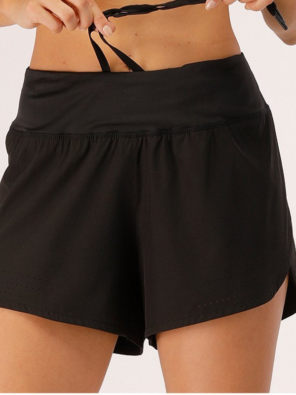 Stretch Lined Active Shorts - Black L