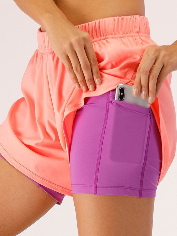 Quick Dry 2-In-1 Active Shorts - Pink L
