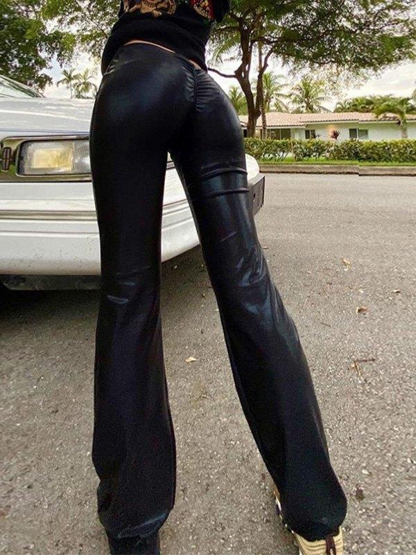 Low Waist Flare Leg Pants - Black L