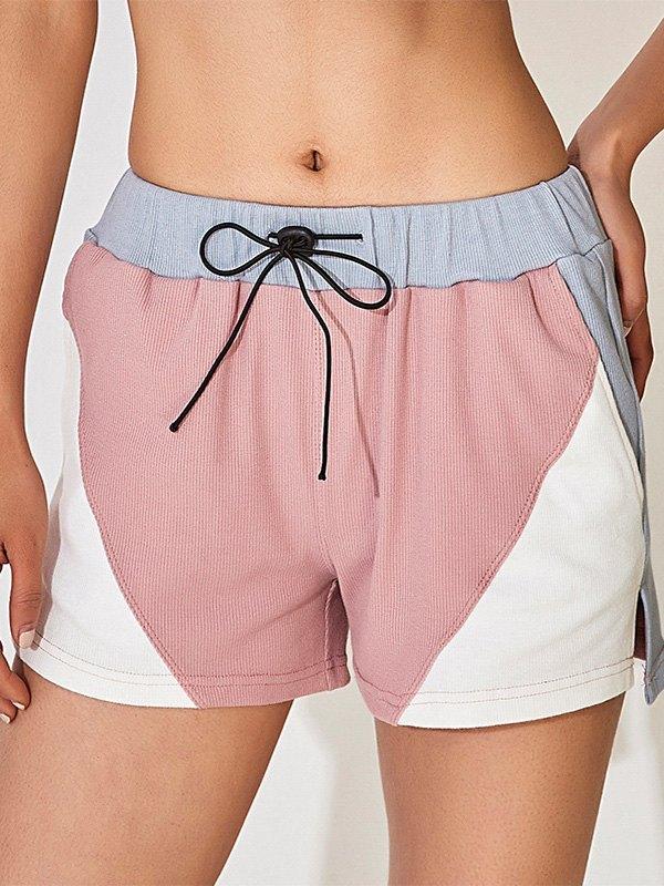 Color Block Ribbed Active Shorts - Pink M
