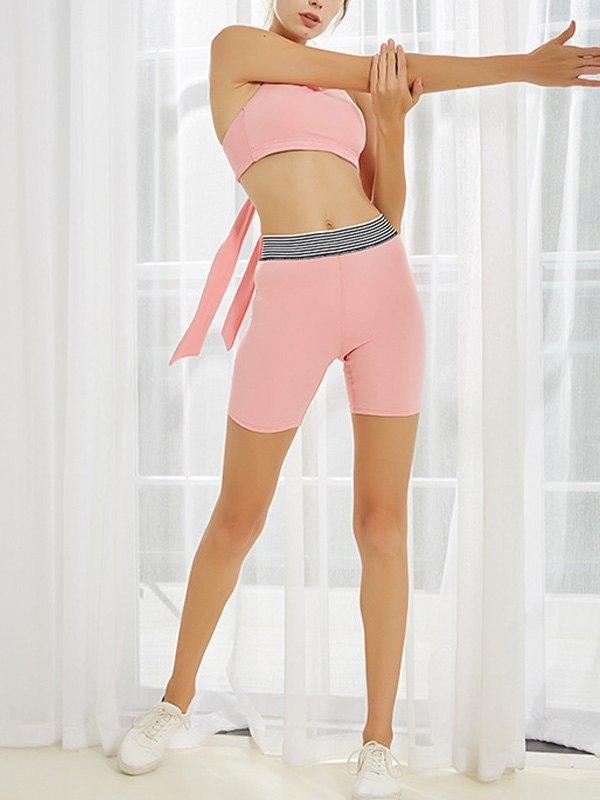 Stretch High Waist Active Shorts - Pink S
