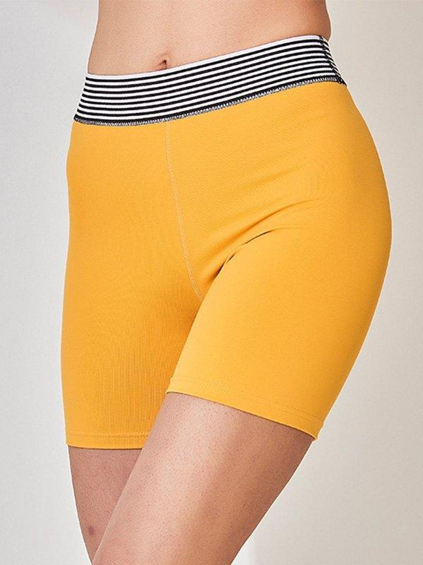 Stretch High Waist Active Shorts - Yellow M