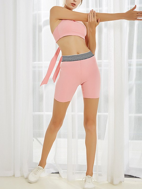 Stretch High Waist Active Shorts - Pink L
