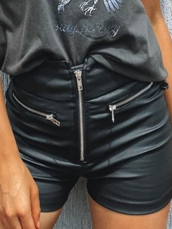 Zip Up Pu Leather Shorts - Black M
