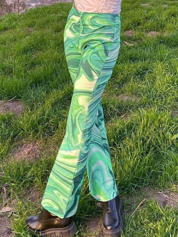 Contrast Swirl Straight Leg Pants - Green M