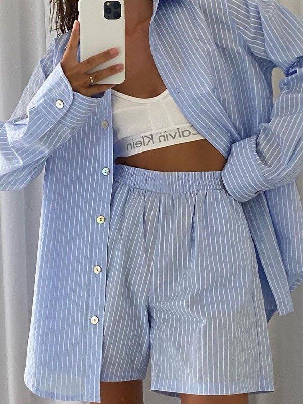 Striped Casual Shorts Set - Blue M